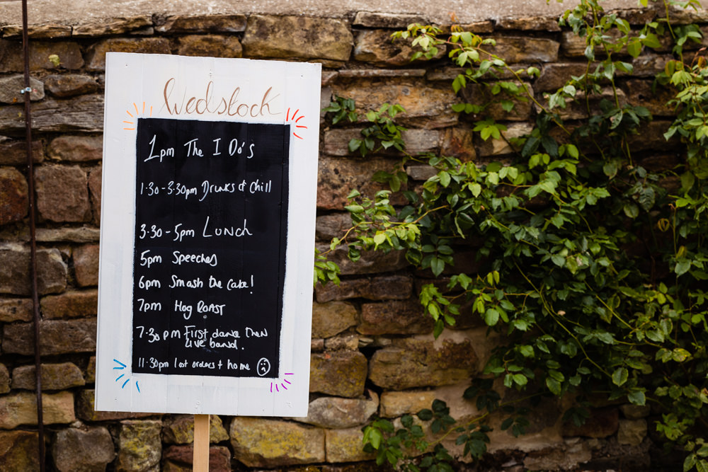 Chalk Black Board Sign Timings Signage Colourful Festival Party Wedding Emma and Rich Photography