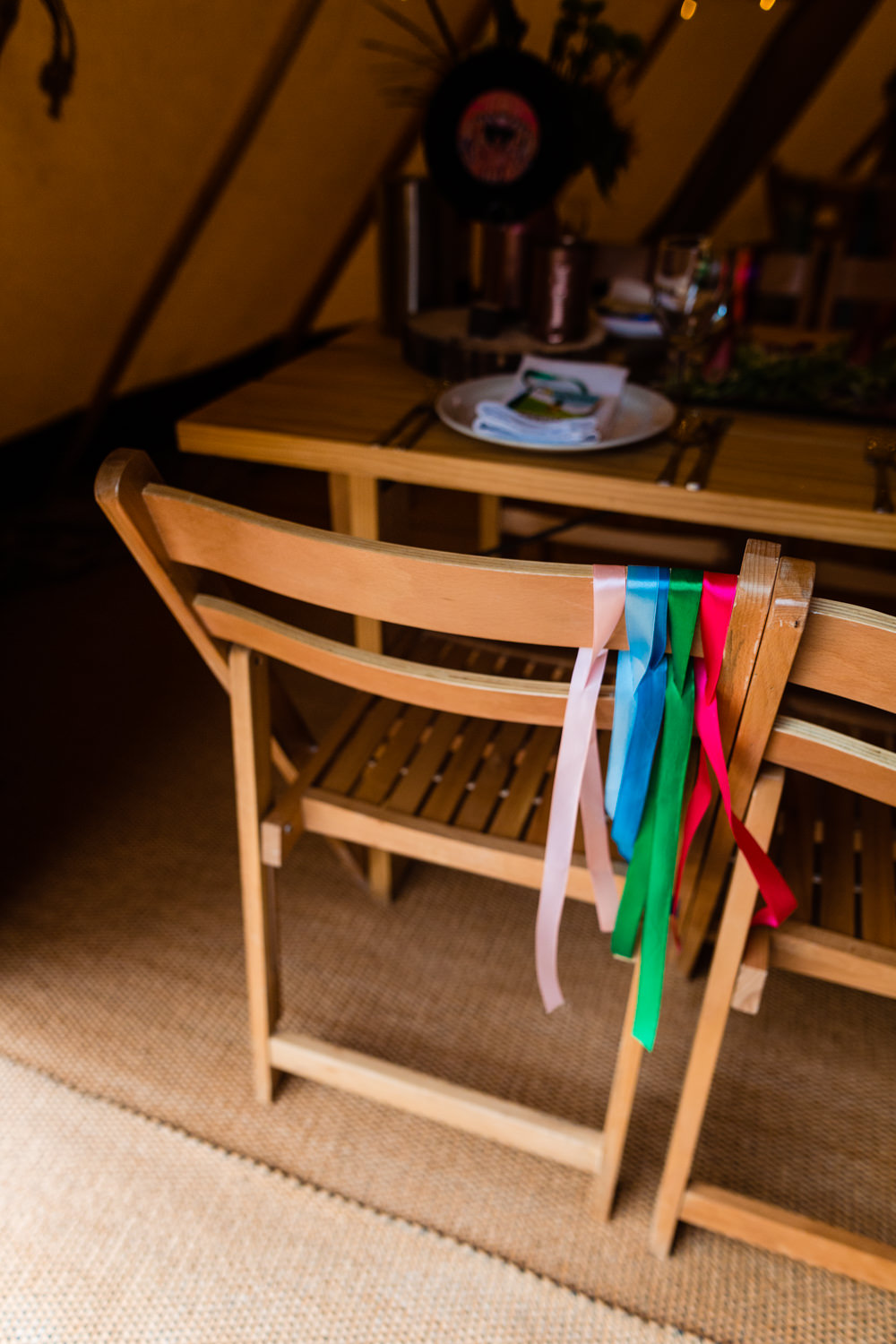 Ribbon Chair Backs Decor Colourful Festival Party Wedding Emma and Rich Photography