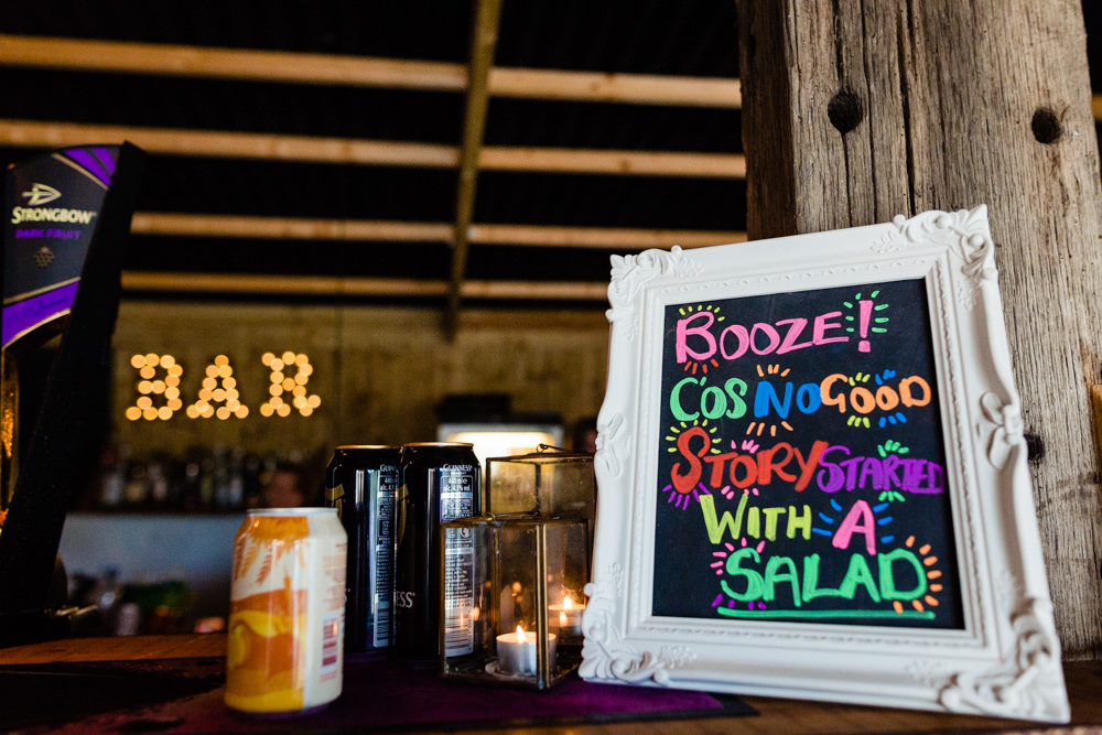 Chalk Black Board Bar Drinks Sign Menu Colourful Festival Party Wedding Emma and Rich Photography