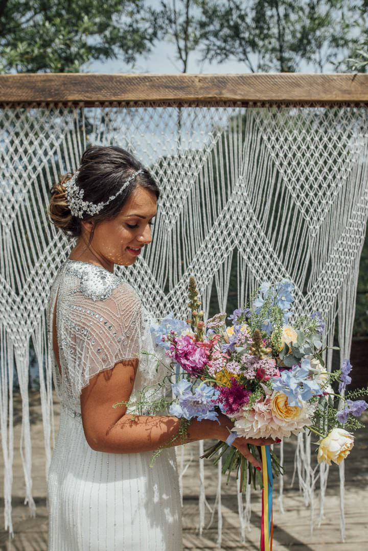 Bride Bridal Dress Gown Beaded Sequin Cap Sleeves Bouquet Flowers Astilbe Dahlia Rose Ribbon Colourful Pretty Floral Tipi Boho Wedding Ideas Purple Pear Tree Photography