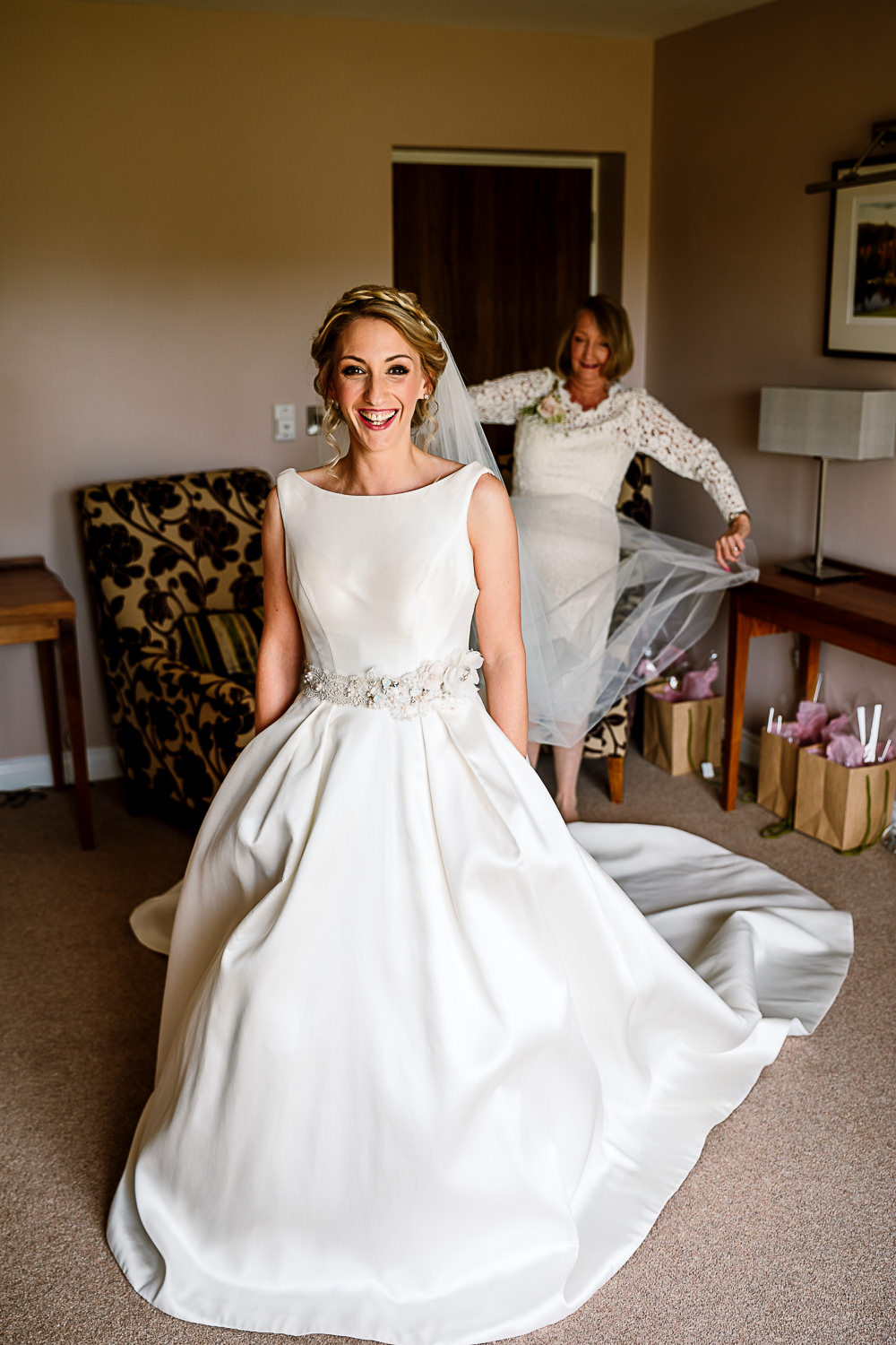 Bride Bridal Dress Gown Belt Pockets Skirt Full Train Coniston Hotel Wedding Hayley Baxter Photography