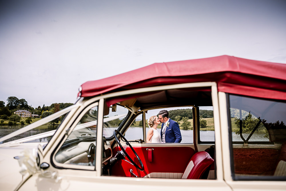 Classic Car Transport Convertible Coniston Hotel Wedding Hayley Baxter Photography