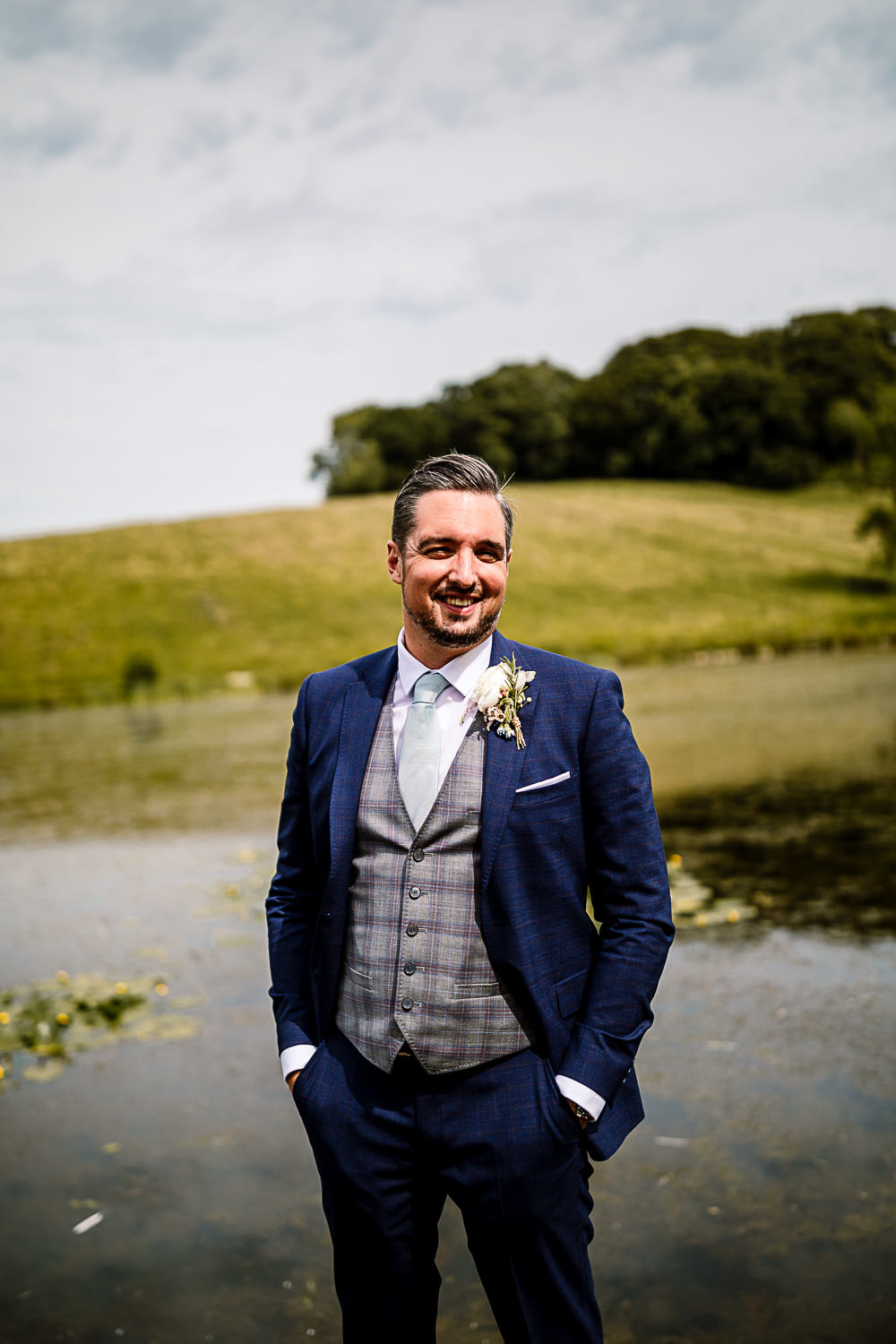 Groom Suit Navy Grey Waistcoat Coniston Hotel Wedding Hayley Baxter Photography