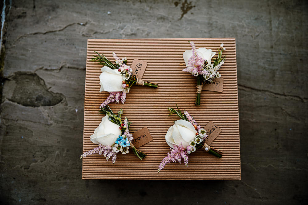 Buttonhole Flowers Groom Rose Pink Cream Blue Coniston Hotel Wedding Hayley Baxter Photography