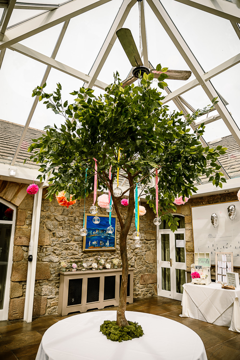 Tree Decor Decoration Ribbons Hanging Tea Lights Candles Coniston Hotel Wedding Hayley Baxter Photography