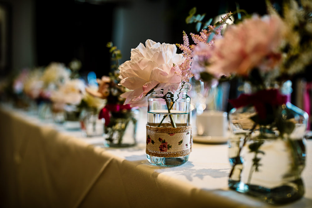 Jars Flowers Peony Coniston Hotel Wedding Hayley Baxter Photography