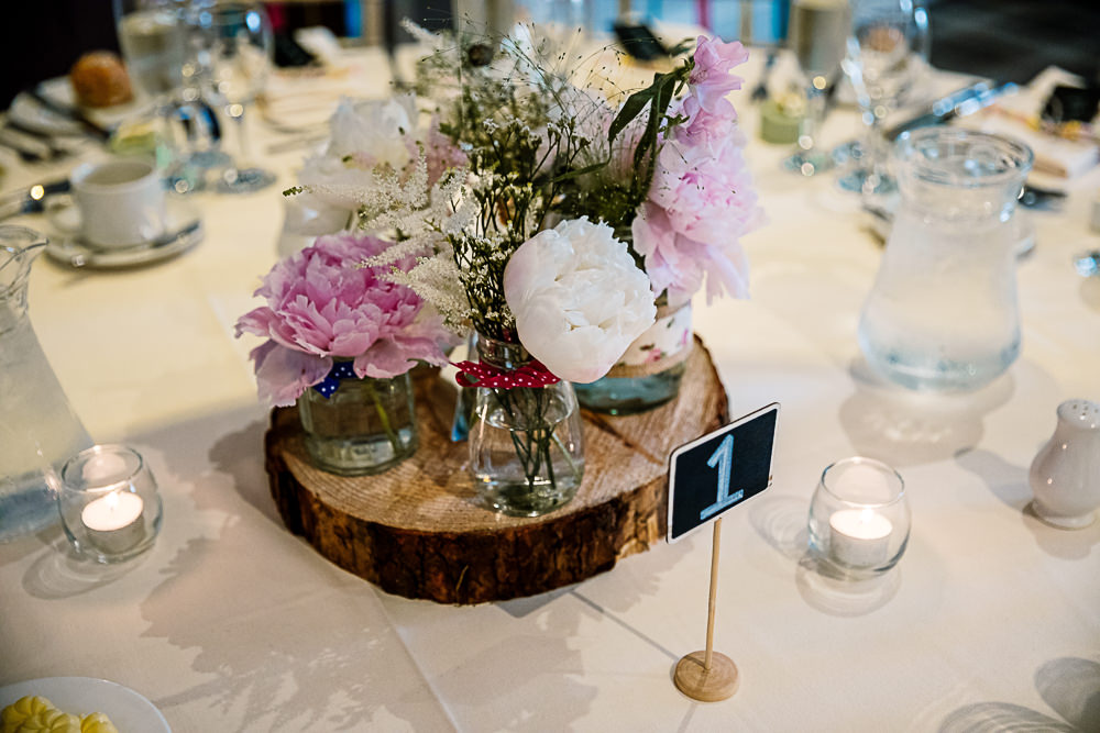 Table Decor Centrepiece Log Peony Peonies Flowers Pink Coniston Hotel Wedding Hayley Baxter Photography