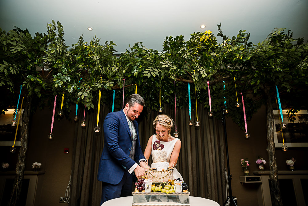 Top Table Backdrop Flower Installation Greenery Foliage Coniston Hotel Wedding Hayley Baxter Photography