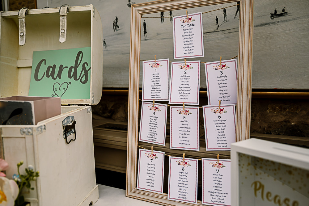 Seating Plan Table Chart Pegs Line Coniston Hotel Wedding Hayley Baxter Photography