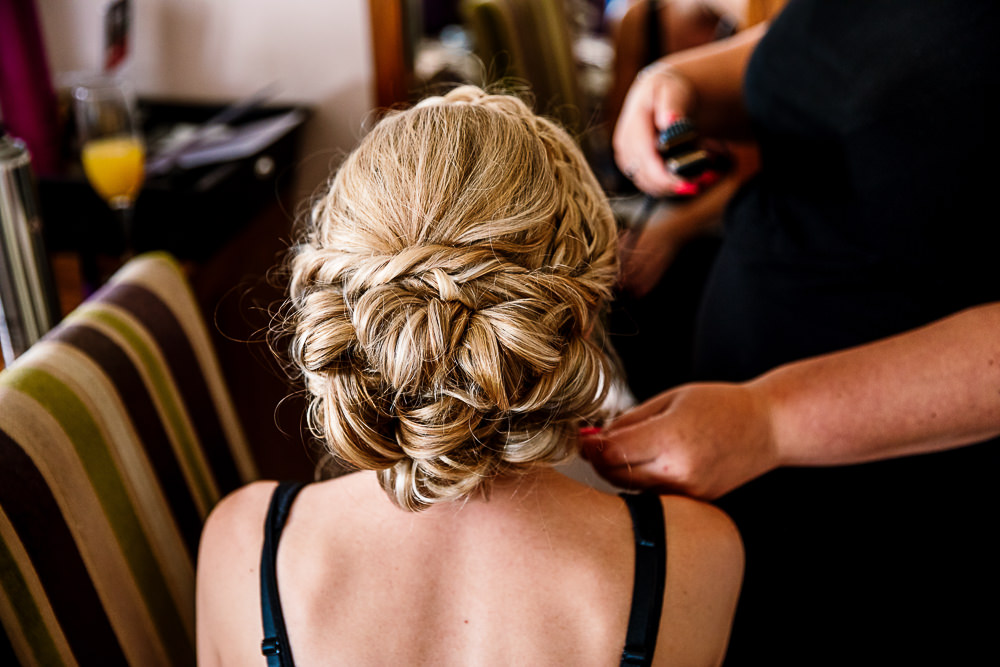 Bride Bridal Hair Style Up Do Pretty Plait Braid Coniston Hotel Wedding Hayley Baxter Photography