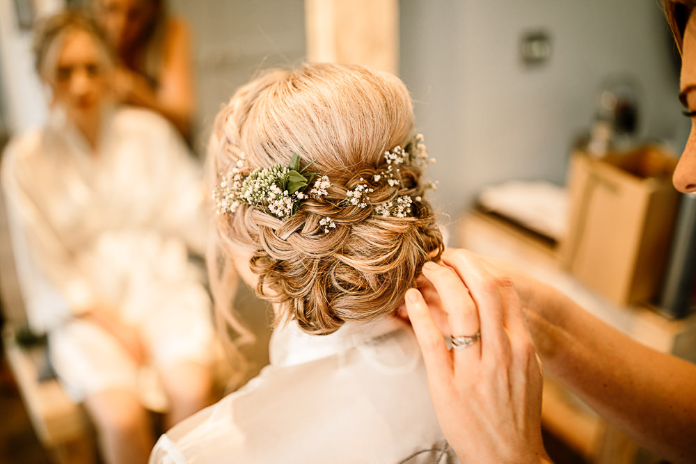 Bride Bridal Hair Up Do Plait Braid Gypsophila Crab and Lobster Wedding Hayley Baxter Photography