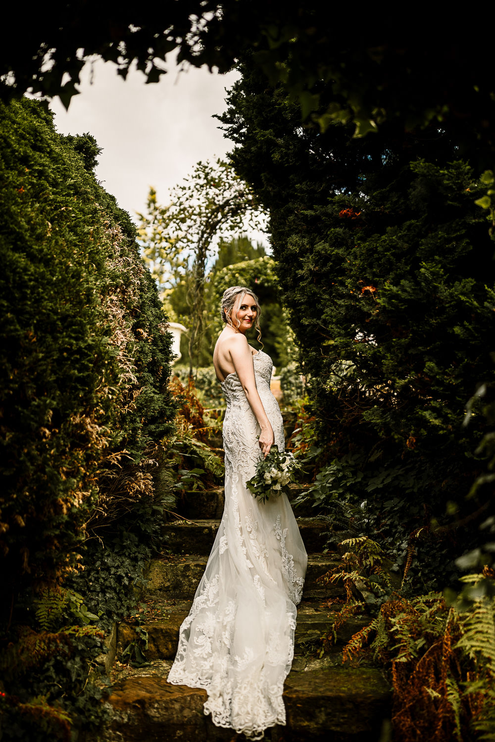 Bride Bridal Dress Gown Sweetheart Neckline Lace Braided Up Do Plait Greenery White Rose Bouquet Crab and Lobster Wedding Hayley Baxter Photography
