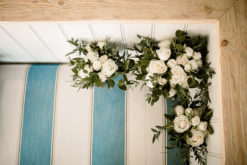 White Greenery Rose Flowers Floral Garland Crab and Lobster Wedding Hayley Baxter Photography
