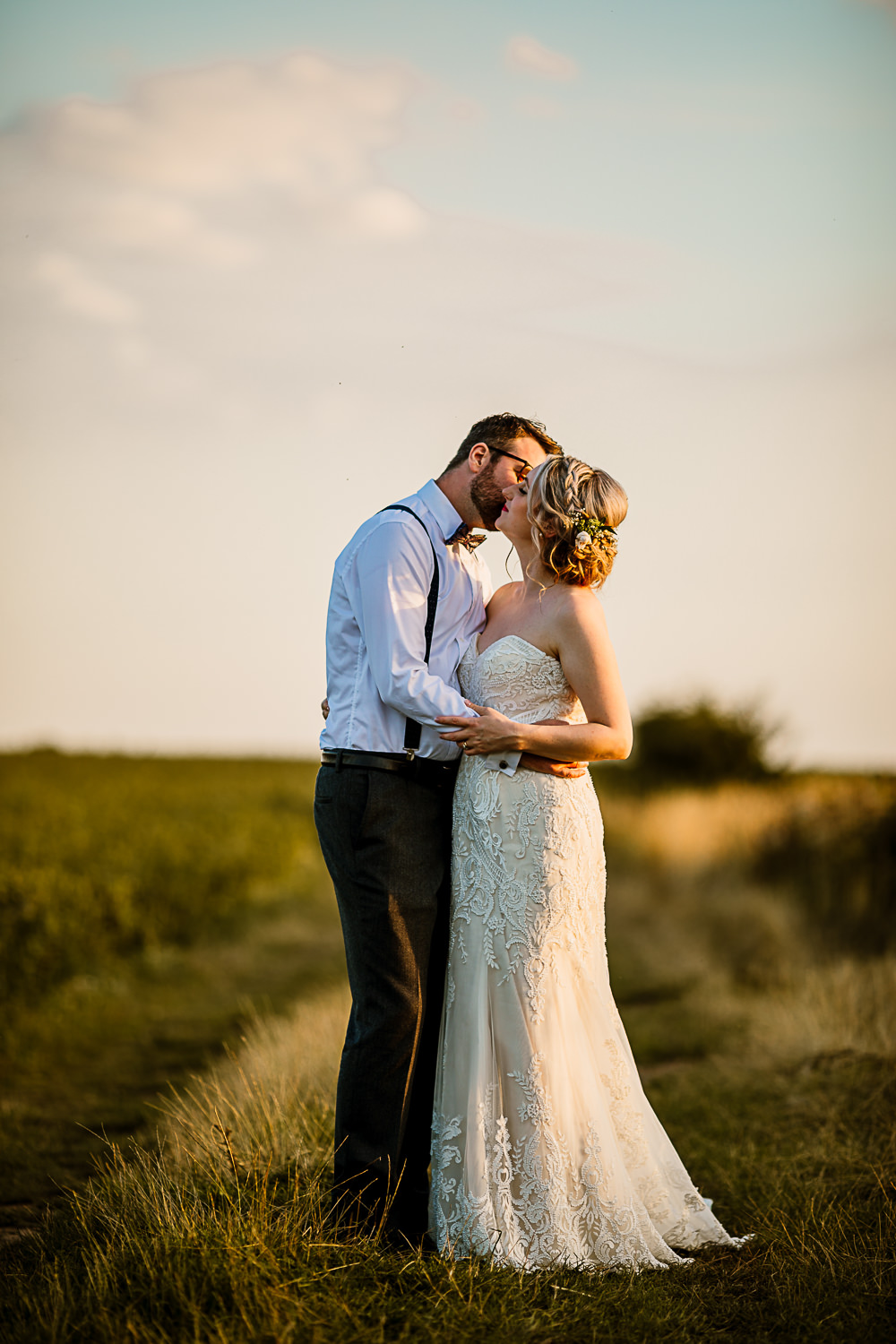 Bride Bridal Dress Gown Sweetheart Neckline Lace Braided Up Do Plait Bow Tie Braces Groom Crab and Lobster Wedding Hayley Baxter Photography