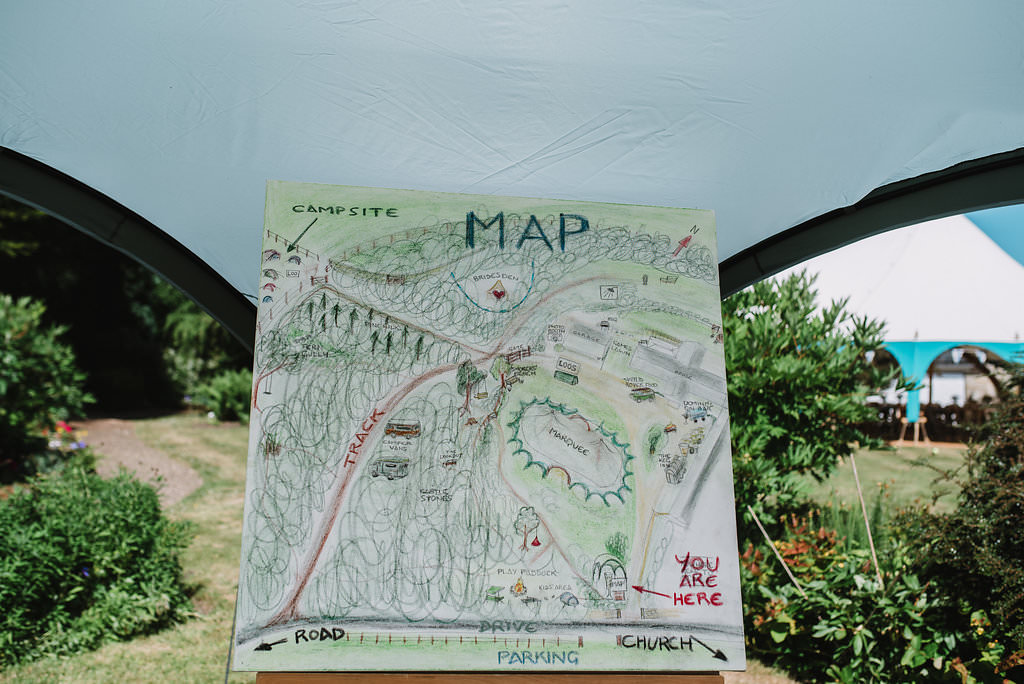 Illustrated Painted Map Sign Eco Friendly Wedding The Stag and the Doe