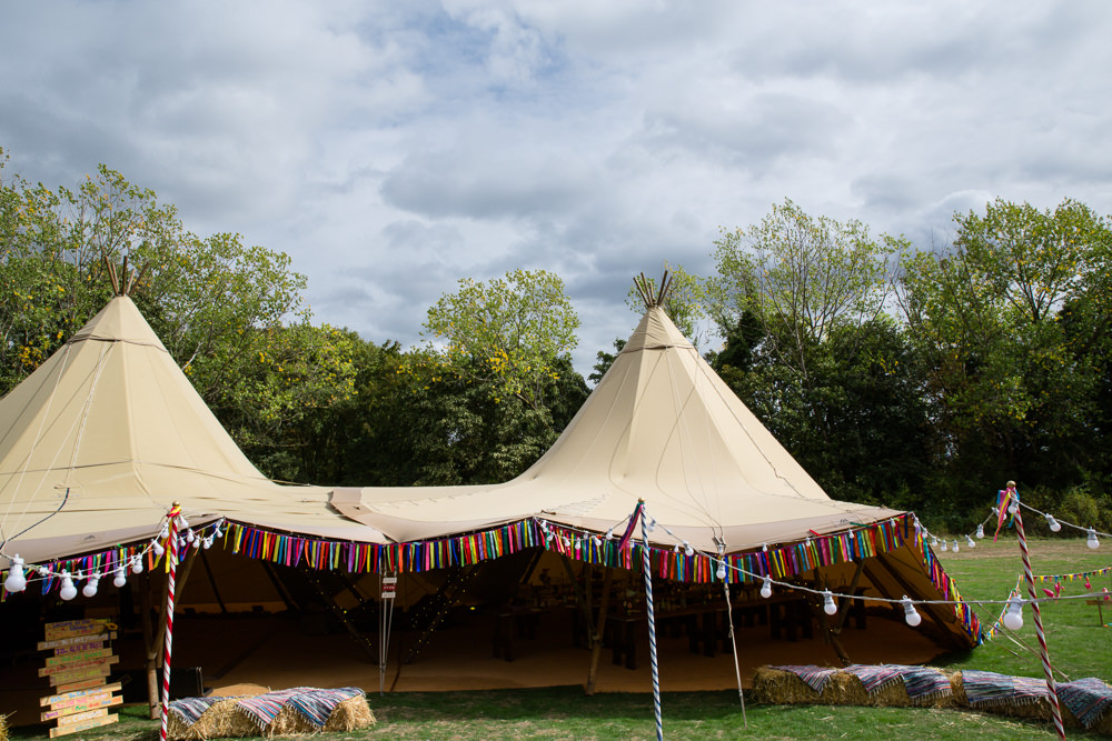 Tipi Tents Rag Bunting Paper Rainbow Colourful Multicolour Enchanted Garden Events Wedding Sharon Cooper Photography