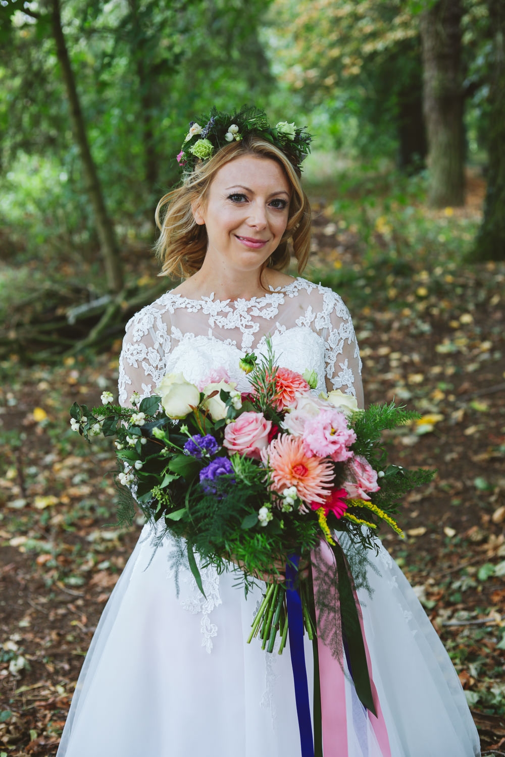 Bride Bridal Flower Crown Bouquet Tea Length Short Dress Lace Sleeves Enchanted Garden Events Wedding Sharon Cooper Photography