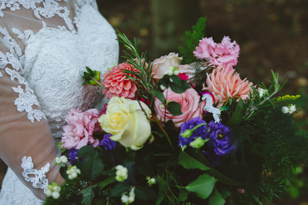 Bouquet Flowers Bride Bridal Colourful Multicolour Rainbow Ribbons Rose Dahlia Fern Enchanted Garden Events Wedding Sharon Cooper Photography