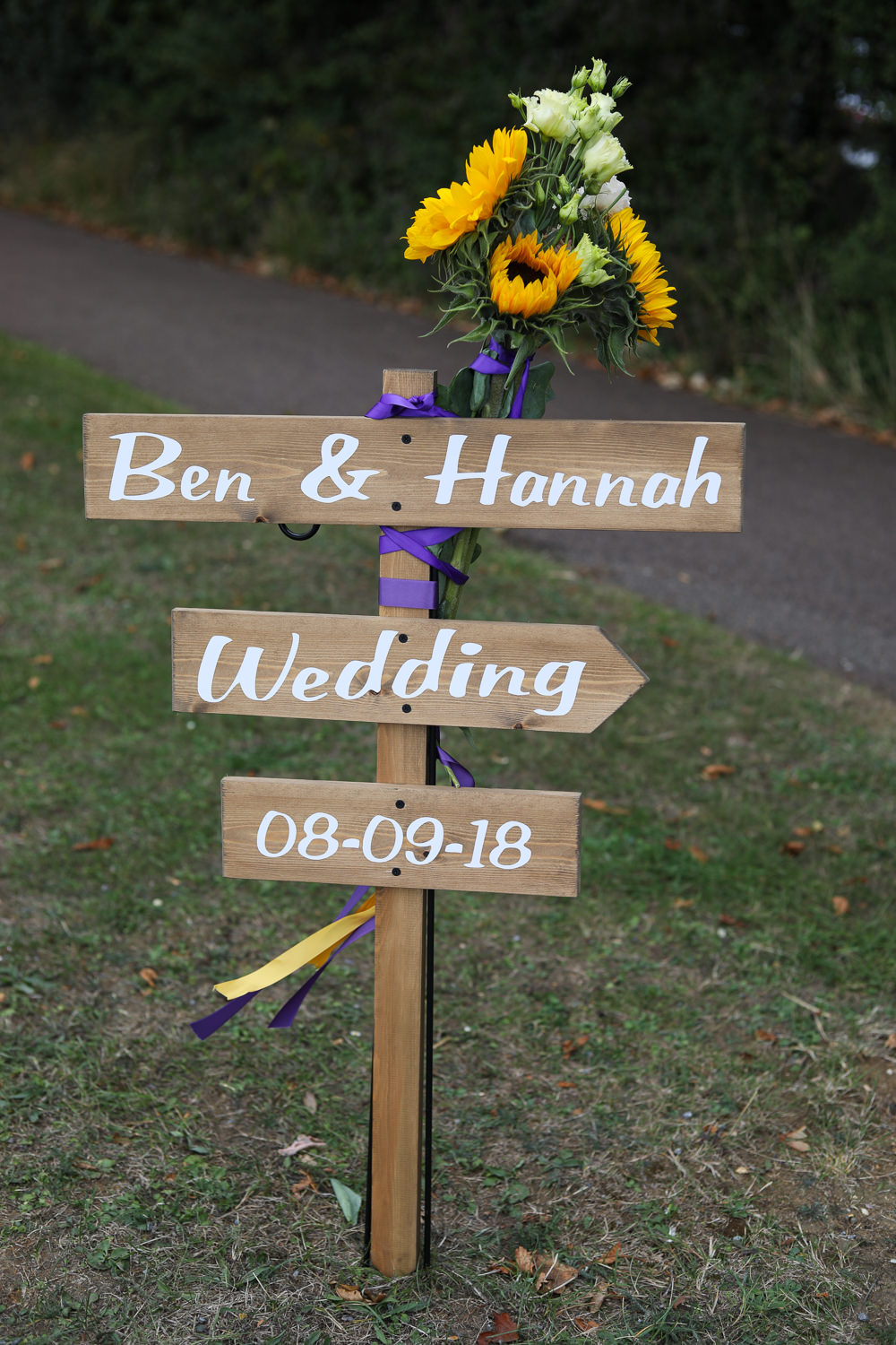 Wooden Sign Signpost Painted Directions Enchanted Garden Events Wedding Sharon Cooper Photography