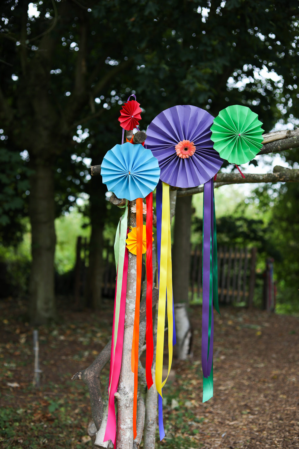 Backdrop Ceremony Arch Pinwheels Ribbons Rainbow Colourful Multicolour Enchanted Garden Events Wedding Sharon Cooper Photography