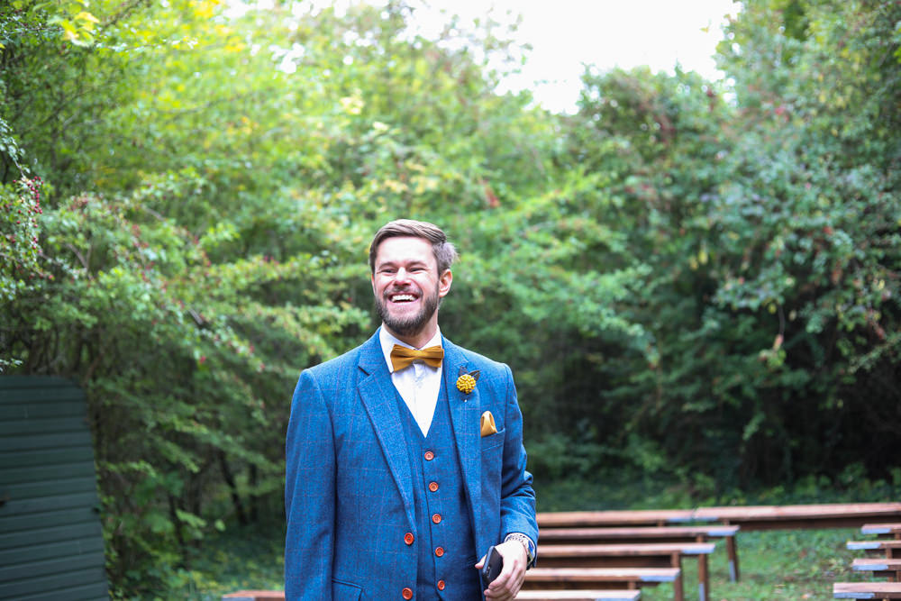 Groom Suit Blue Mustard Bow Tie Groomsmen Enchanted Garden Events Wedding Sharon Cooper Photography