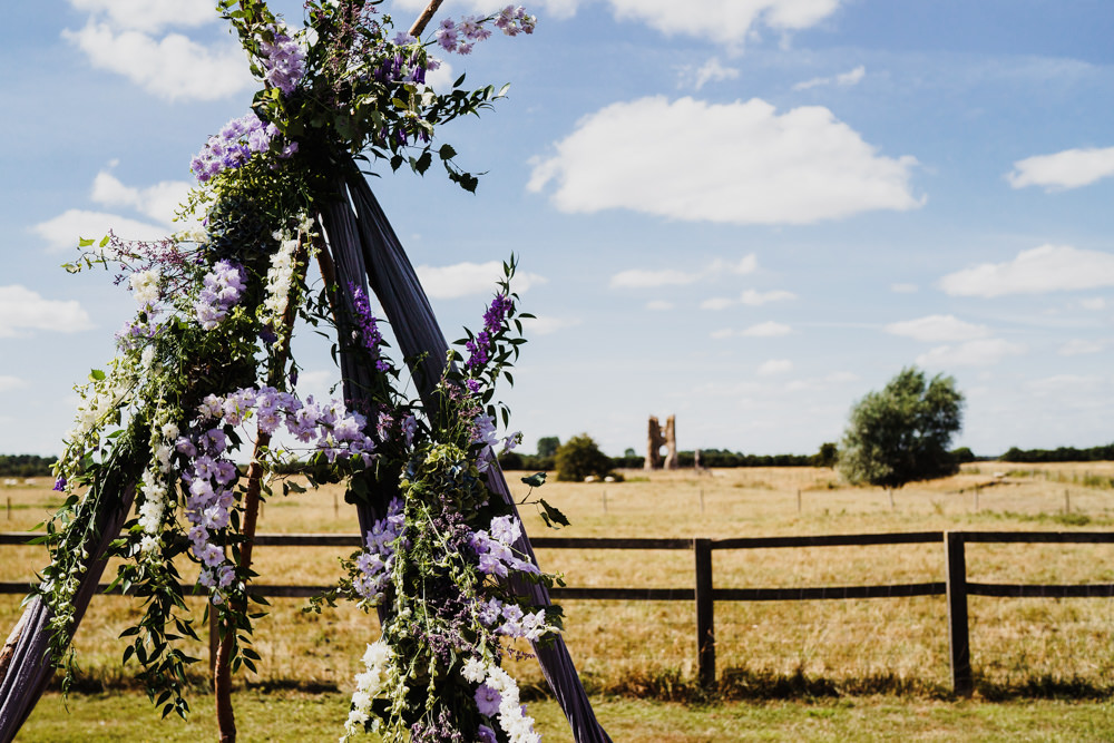 Wooden Triangle Ceremony Aisle Backdrop Flowers Arch Outdoor Godwick Hall Wedding Rob Dodsworth Photography