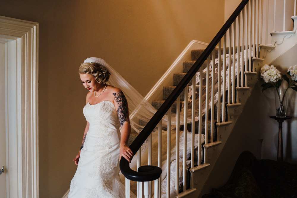 Dress Gown Bride Bridal Strapless Fit Flare Veil Godwick Hall Wedding Rob Dodsworth Photography