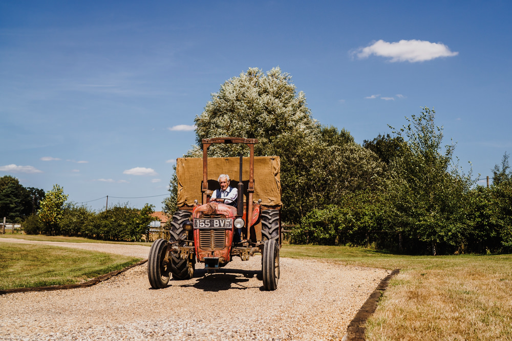 Tractor Trailer Transport Flowers Godwick Hall Wedding Rob Dodsworth Photography
