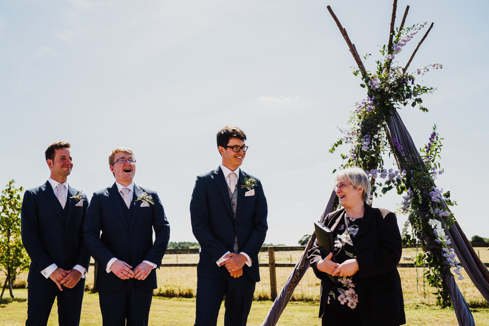 Groom Suit Groomsmen Blue Waistcoats Pink Tie Godwick Hall Wedding Rob Dodsworth Photography