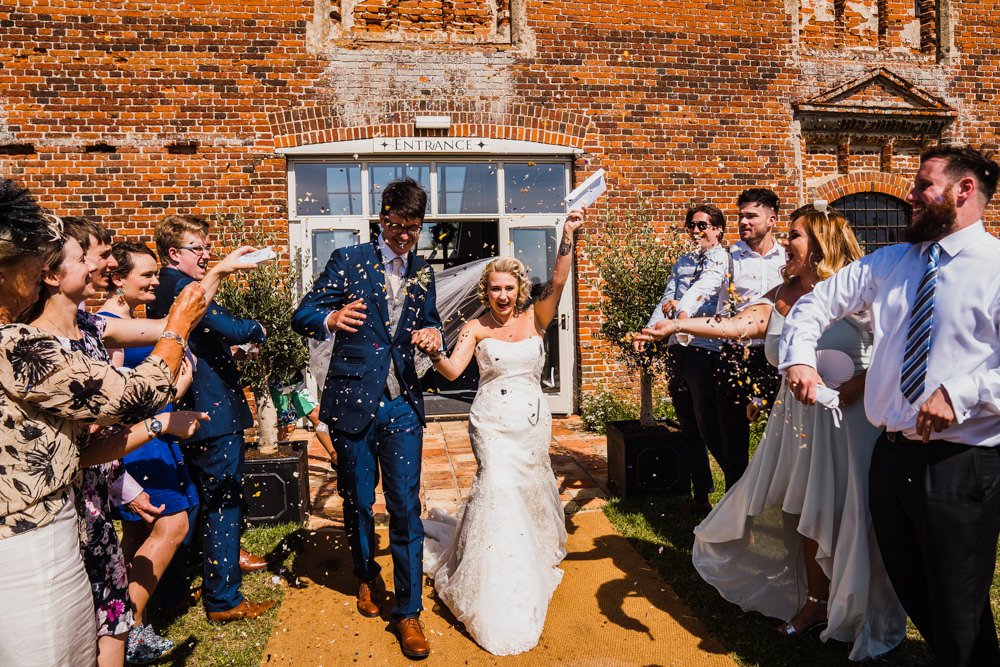 Confetti Throw Godwick Hall Wedding Rob Dodsworth Photography