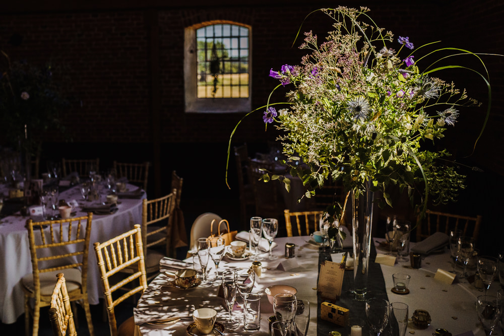 Table Centrepiece Flowers Decor Tall Wild Natural Greenery Godwick Hall Wedding Rob Dodsworth Photography