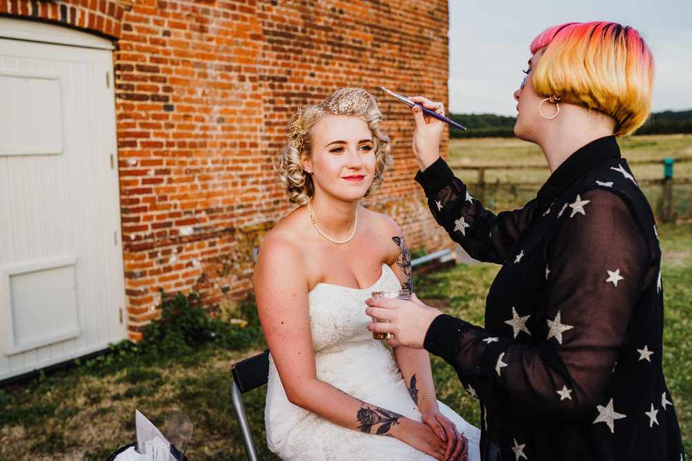Glitter Make Up Bar Stand Station Godwick Hall Wedding Rob Dodsworth Photography