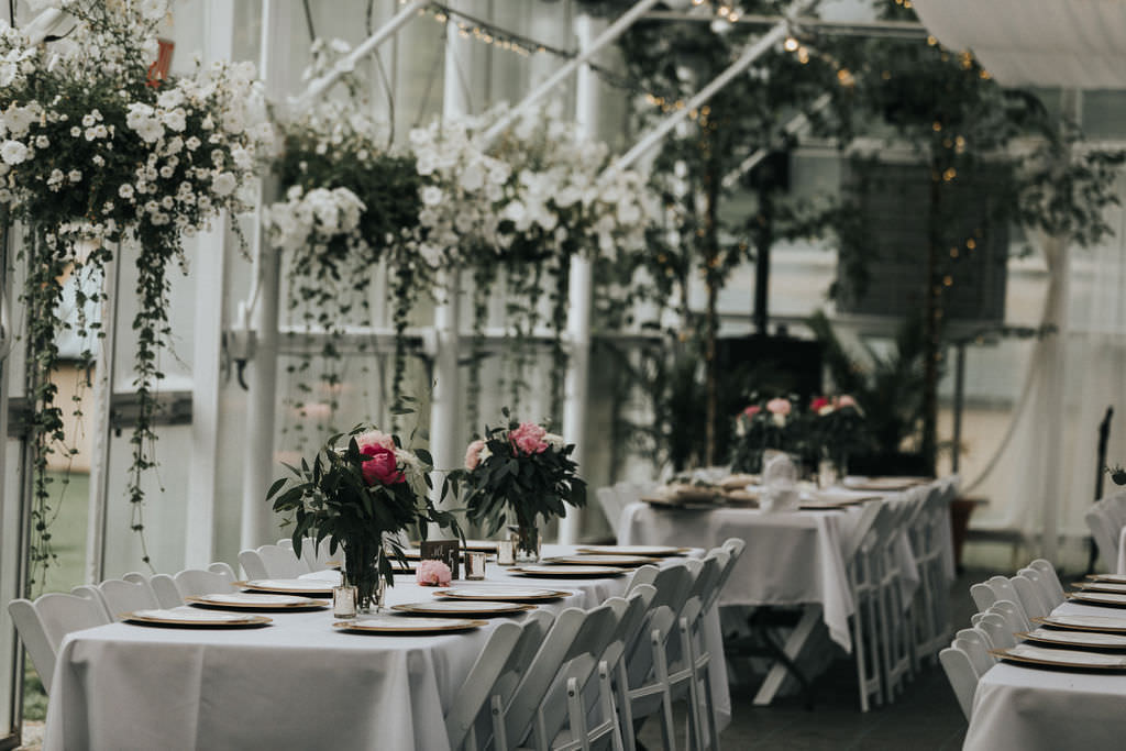Glasshouse Drapes Decor Chic Modern Flowers Long Tables Greenhouse Garden Washington Wedding Beginning and End Photography