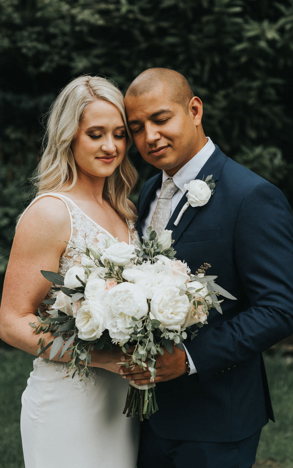 Bouquet Flowers Bride Bridal White Peony Peonies Rose Greenhouse Garden Washington Wedding Beginning and End Photography