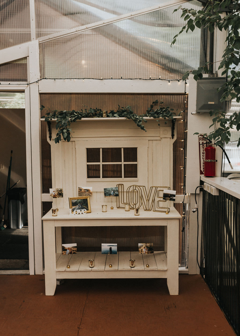 Furniture Dresser Decor Table Greenhouse Garden Washington Wedding Beginning and End Photography