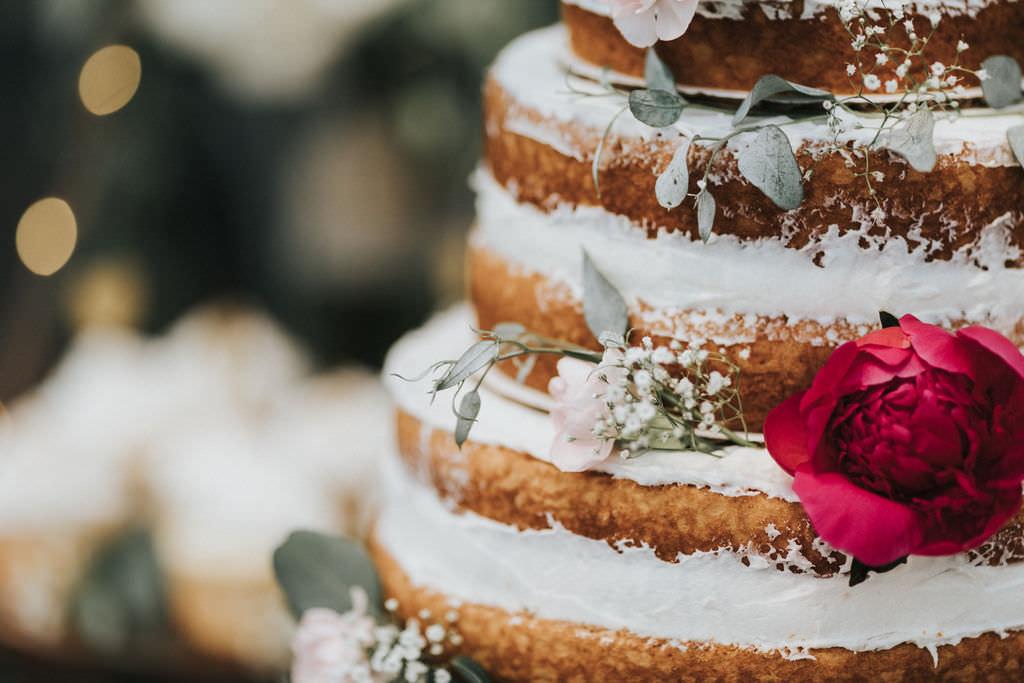Naked Sponge Layer Cake Buttercream Greenhouse Garden Washington Wedding Beginning and End Photography