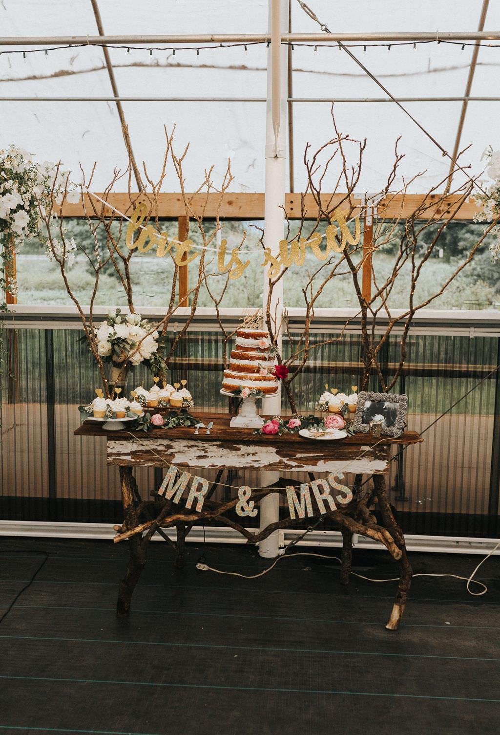 Cake Dessert Table Decor Branches Greenhouse Garden Washington Wedding Beginning and End Photography
