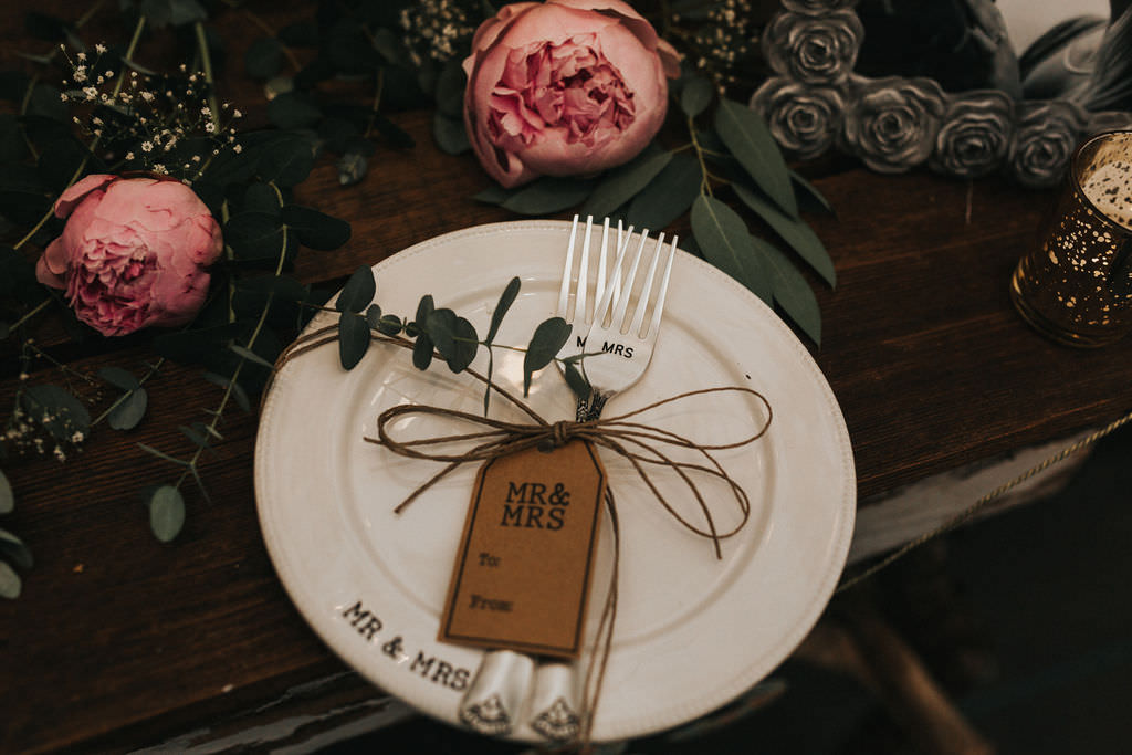 Place Setting Table Name Luggage Tag Greenhouse Garden Washington Wedding Beginning and End Photography
