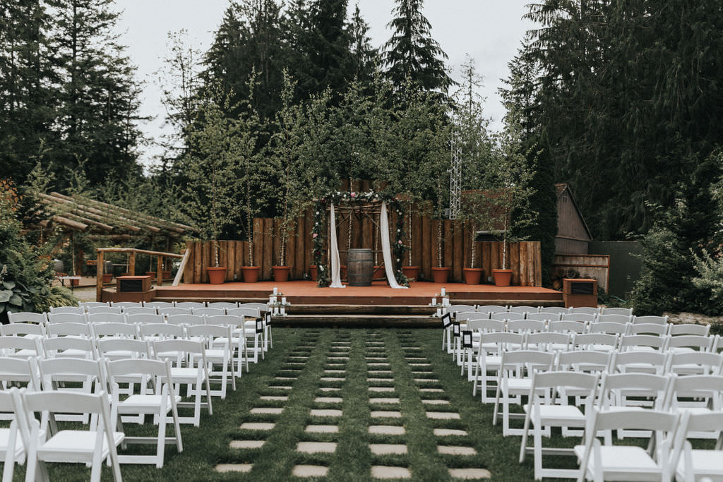 Ceremony Aisle Backdrop Arbour Arch Flowers Floral Greenery Greenhouse Garden Washington Wedding Beginning and End Photography