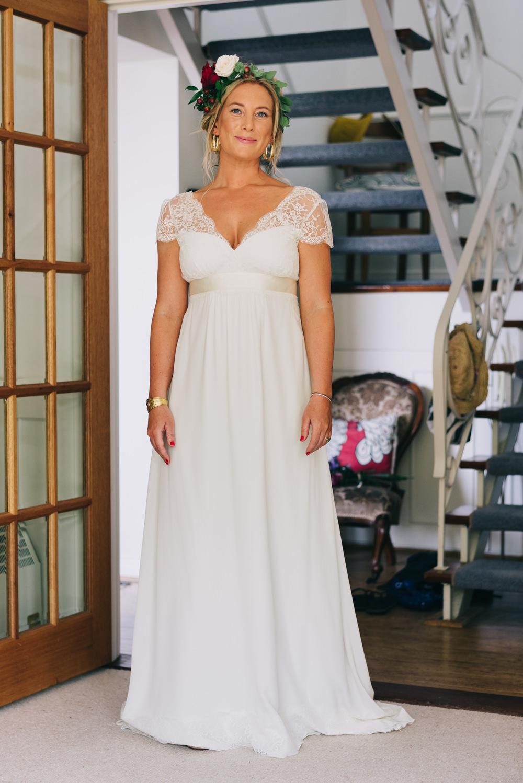 Bride Bridal Laure de Sazagan Dress Lace Cap Sleeve Foliage Flower Crown Jersey Beach Wedding Peakography