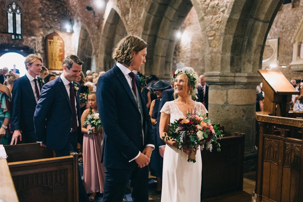 Bride Bridal Laure de Sazagan Dress Lace Cap Sleeve Three Piece Suit Grey Waistcoat Groom Flower Crown Bouquet Jersey Beach Wedding Peakography