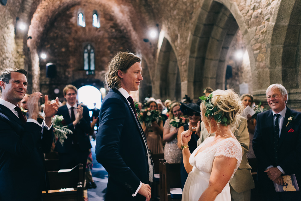 Bride Bridal Laure de Sazagan Dress Lace Cap Sleeve Three Piece Suit Grey Waistcoat Groom Foliage Crown Jersey Beach Wedding Peakography