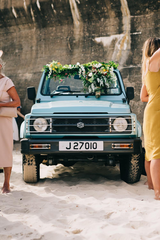 Jeep Wedding Transport Car Garland Foliage Flowers Jersey Beach Wedding Peakography