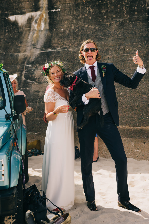 Bride Bridal Laure de Sazagan Dress Lace Cap Sleeve Three Piece Suit Grey Waistcoat Groom Dog Bow Tie Jersey Beach Wedding Peakography