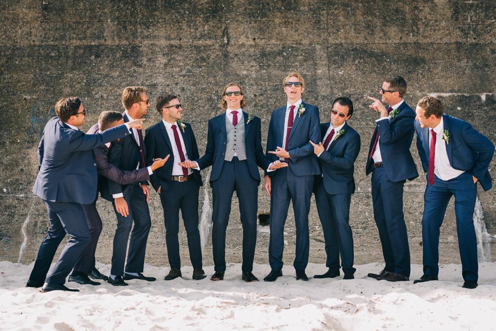 Three Piece Grey Waistcoat Suit Groom Groomsmen Jersey Beach Wedding Peakography