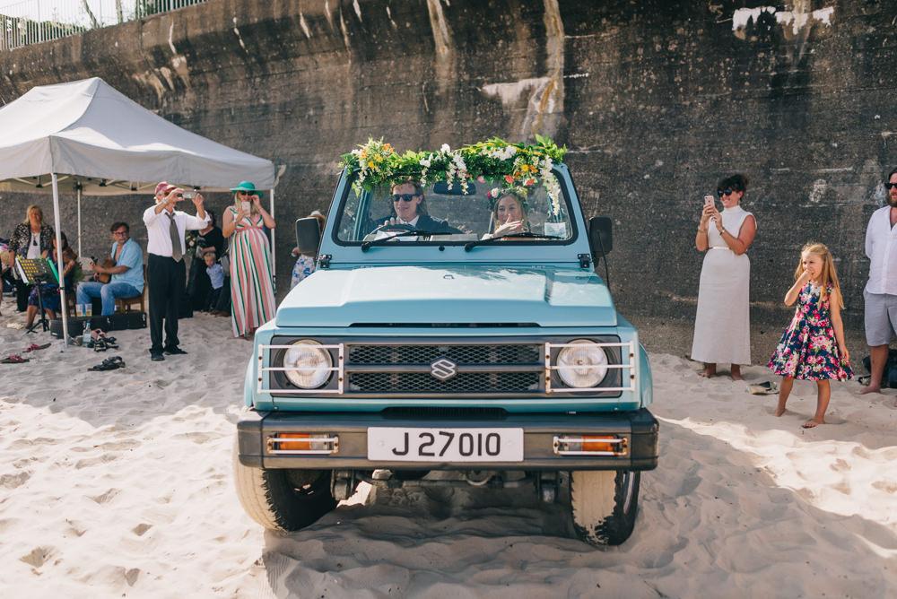 Wedding Transport Jeep Car Foliage Flower Garland Jersey Beach Wedding Peakography