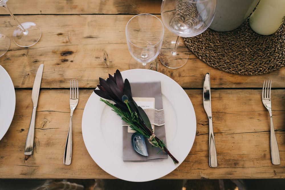 Table Setting Grey Napkin Ribbon Shell Jersey Beach Wedding Peakography