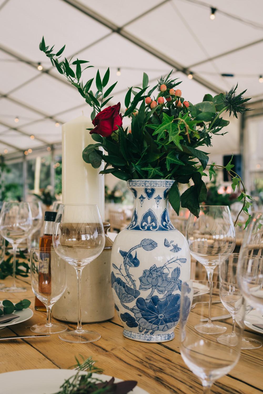 Floral Foliage Arrangement Vase Blue White Jersey Beach Wedding Peakography