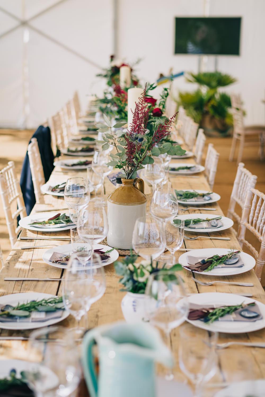 Table Setting Earthenware Jug Flowers Floral Jersey Beach Wedding Peakography