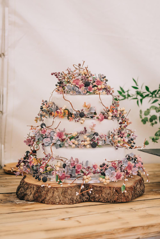 Cake Floral Flowers Berries Pink Pastel Jersey Beach Wedding Peakography